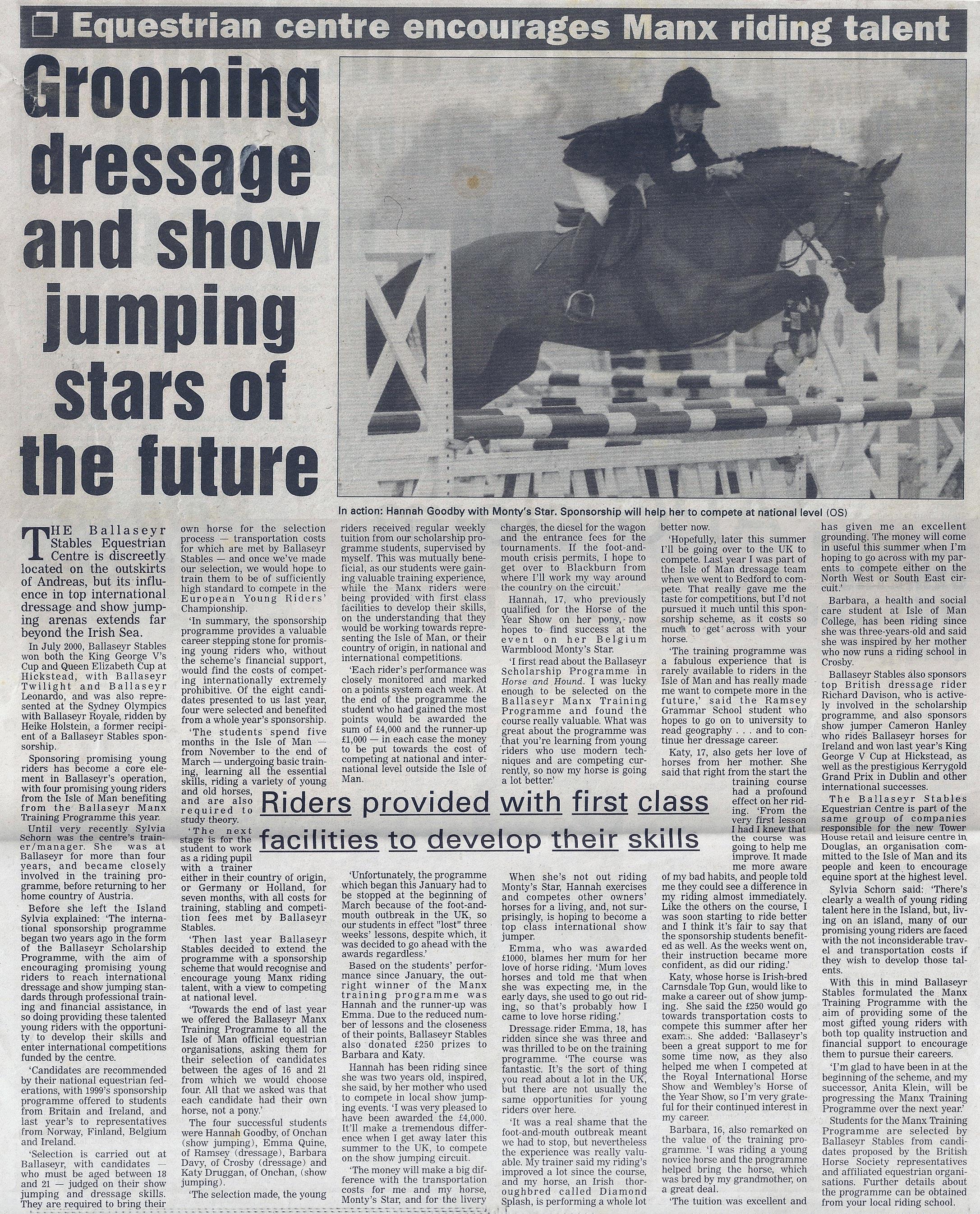 Ballaseyr Equestrian Centre encourages Manx Riding Talent 2001