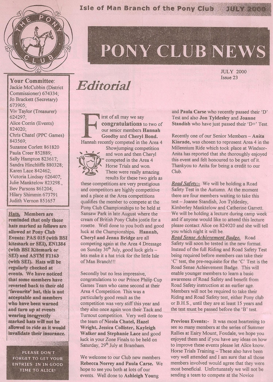 IoM Pony Club News Issue 23 2000