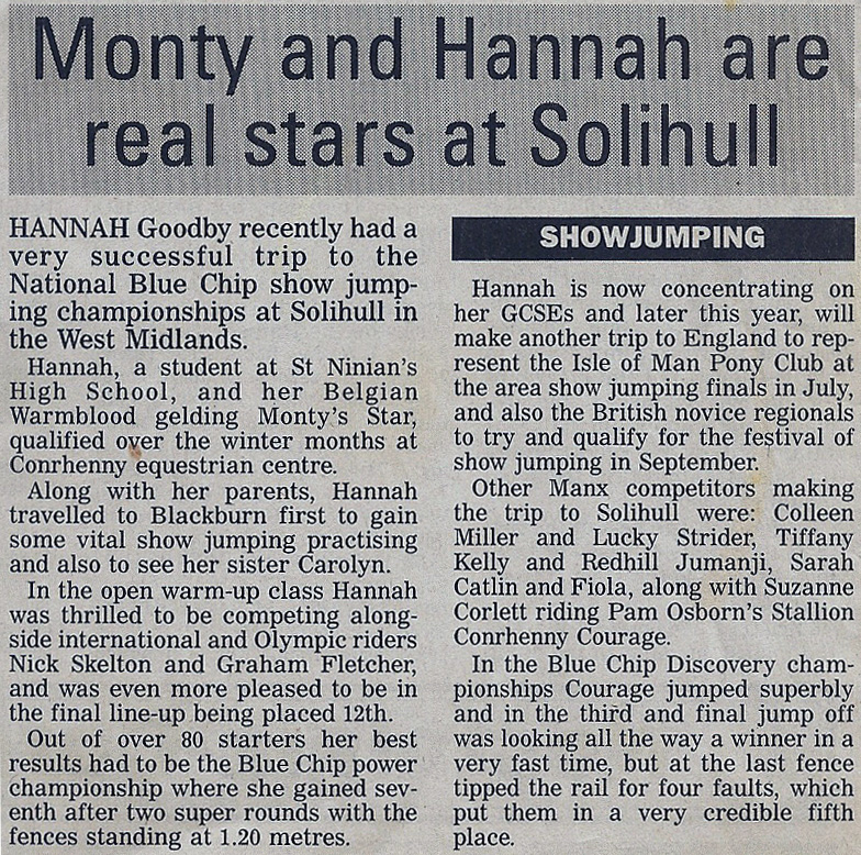 Monty and Hannah are real stars at Solihull 2000