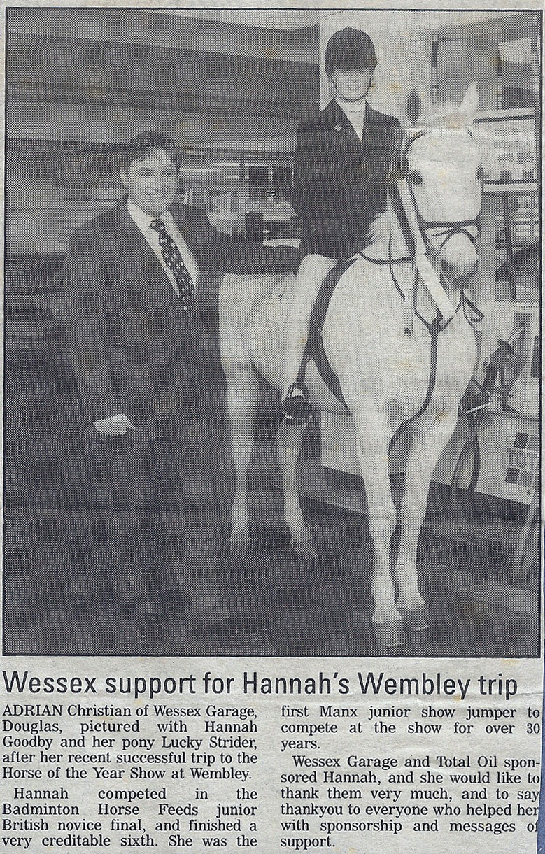 Wessex support for Hannah's HOYS Wembley Trip 1996