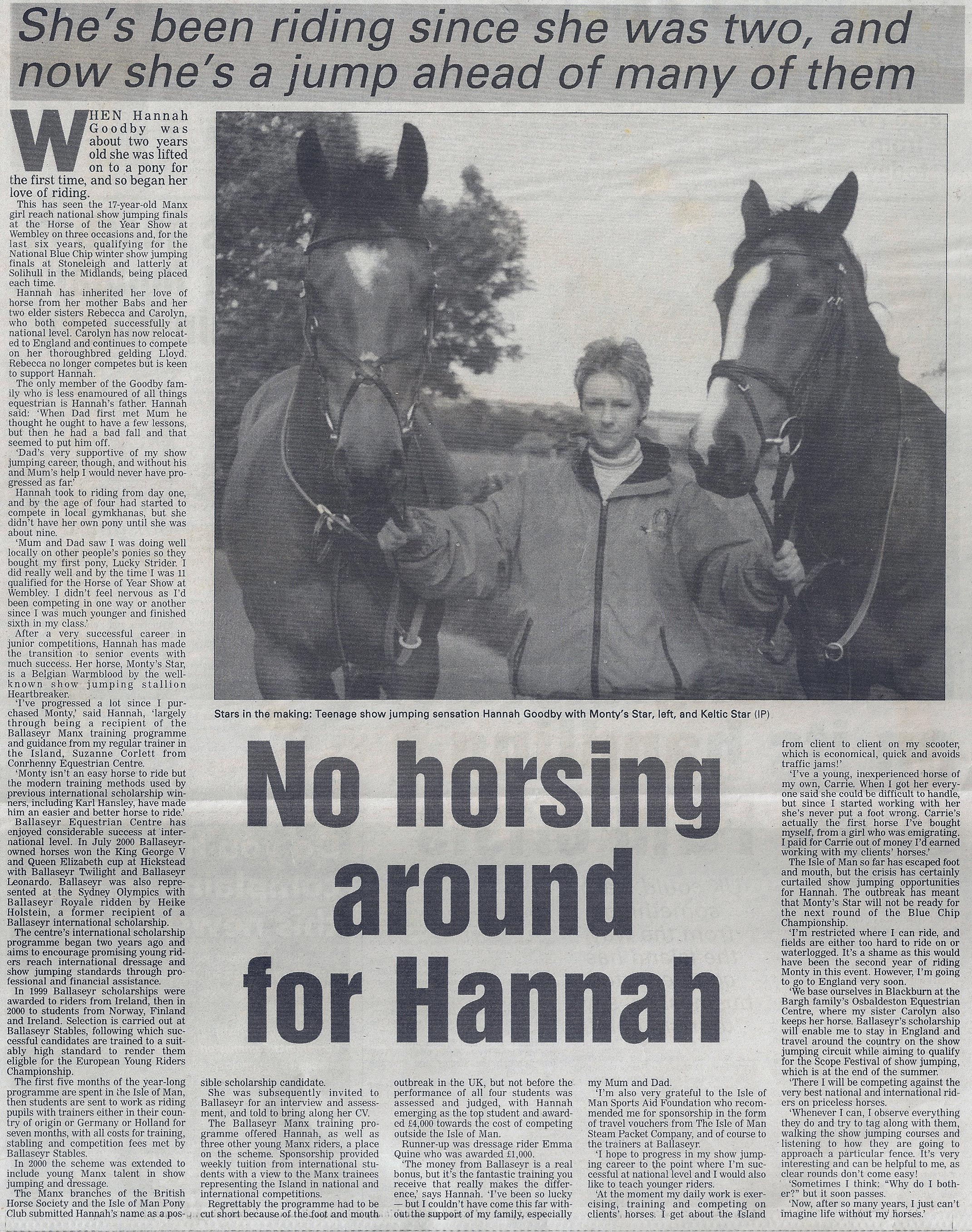 No Horsing around for Hannah 2001