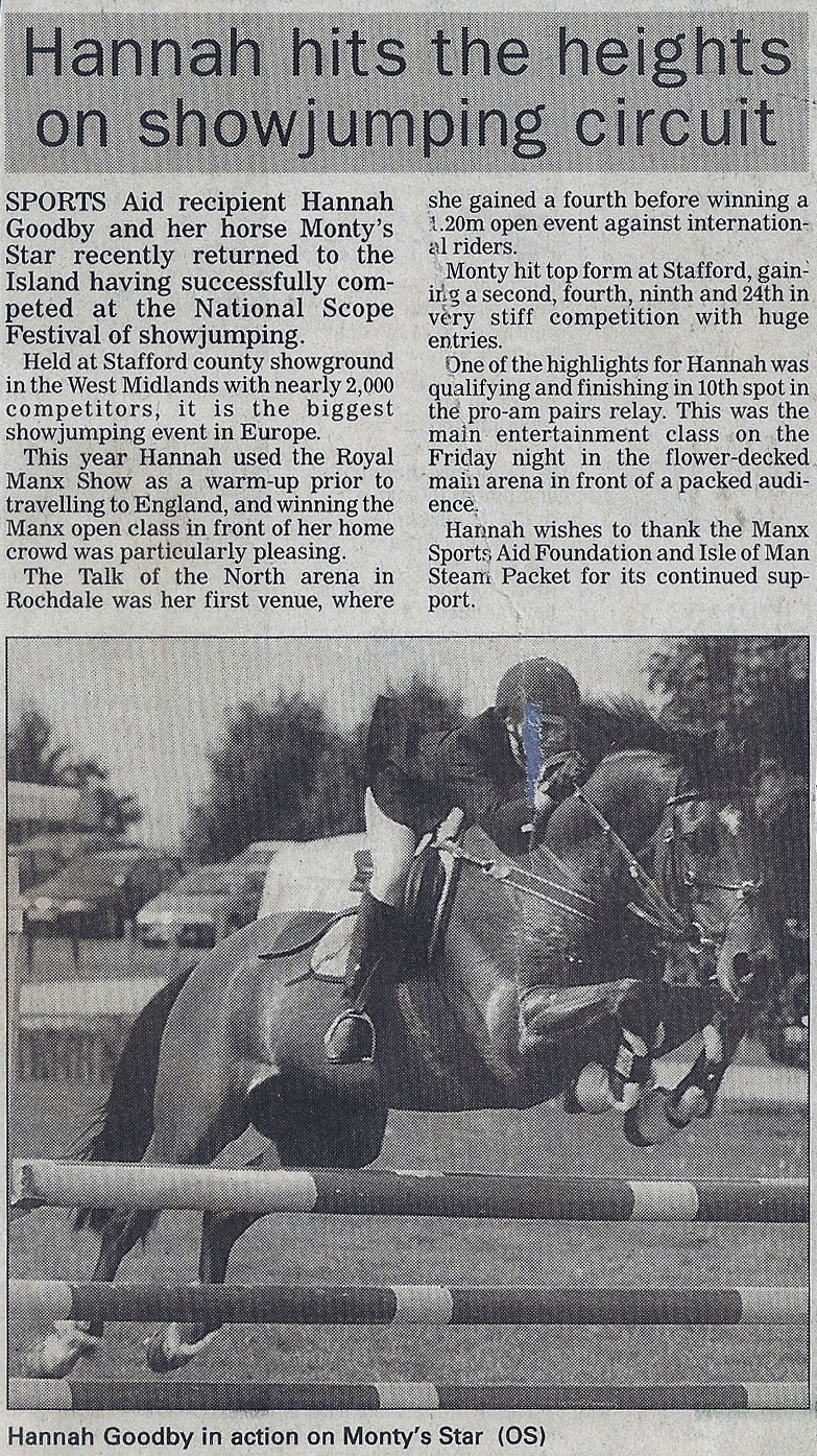 Hannah hits the heights on showjumping circuit 2002