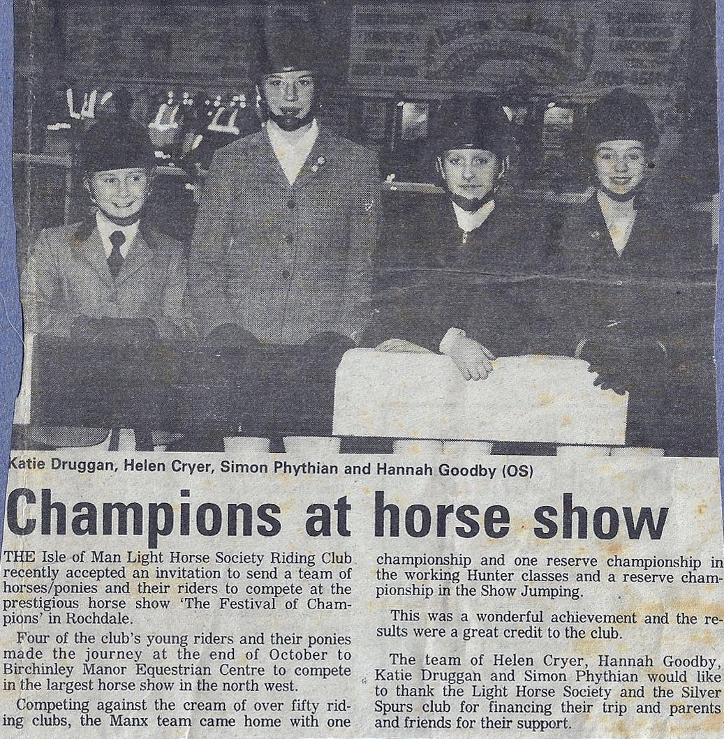 IoM Team Festival of Showjumping Birchinley Manor 1994