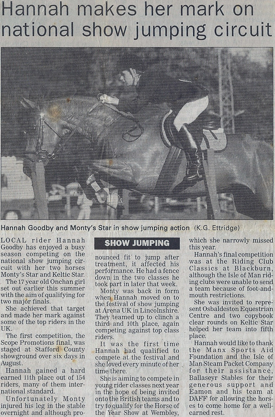 Hannah makes her mark on national showjumping circuit 2001