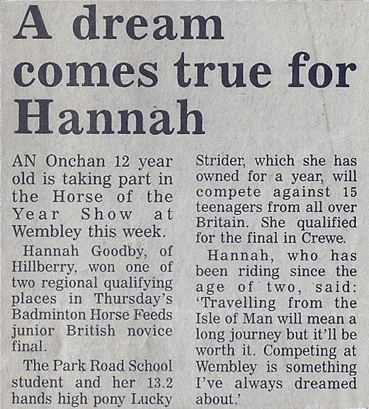 A dream comes true for Hannah 1996