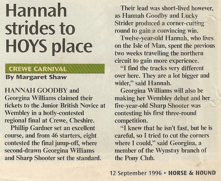 Hannah strides to HOYS place - Horse and Hound Sept 1996