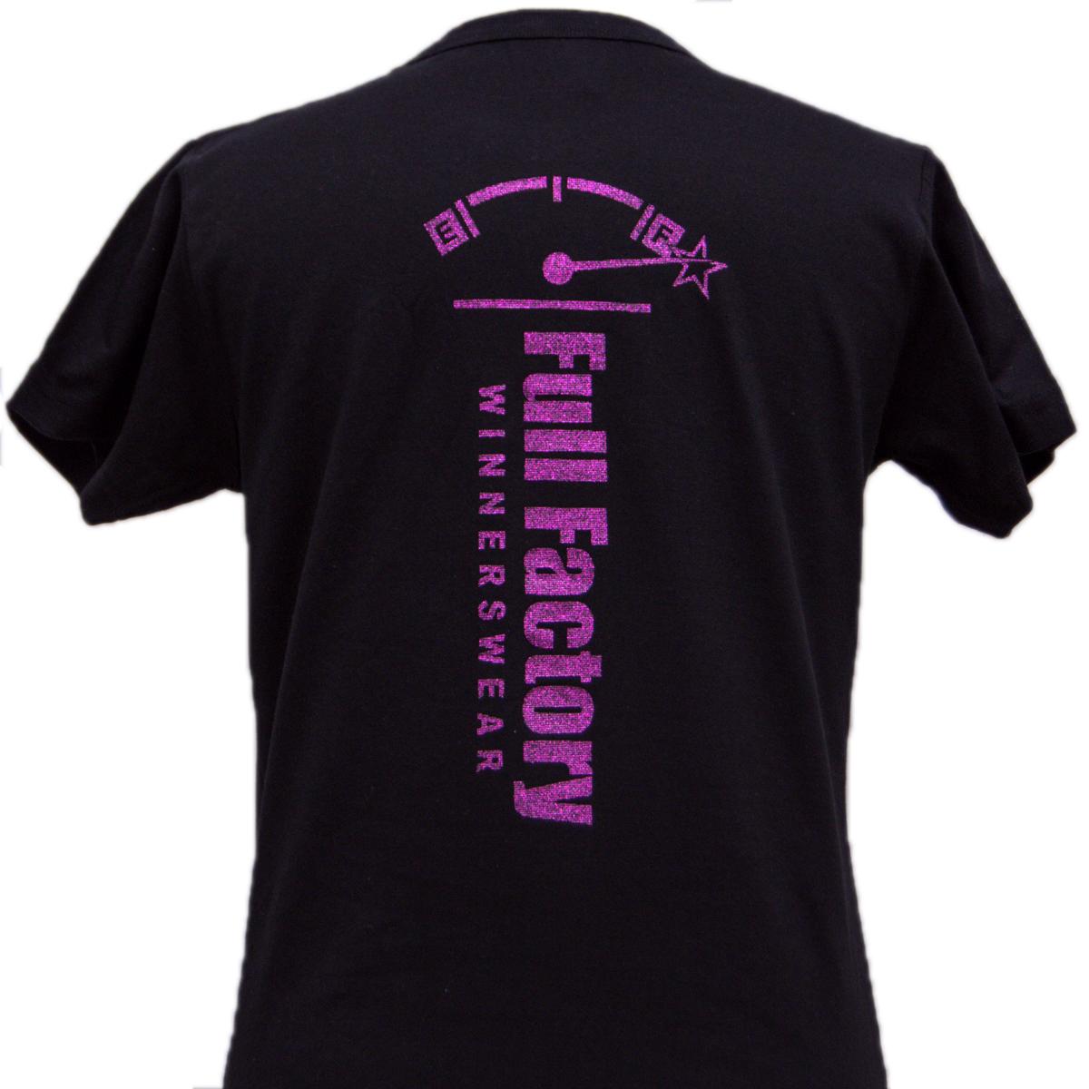 Ladies Full Factory Black & Glitter T-Shirt Image (Back)