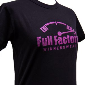 Ladies Full Factory Black & Glitter T-Shirt Image