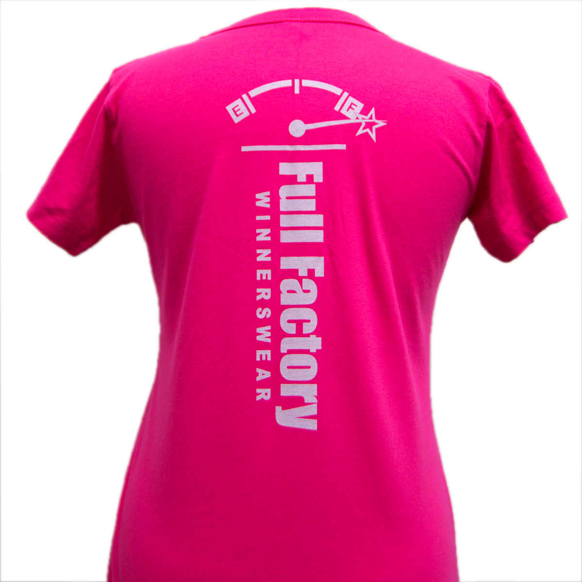 Ladies Full Factory Pink & Silver T-Shirt Image (Back)