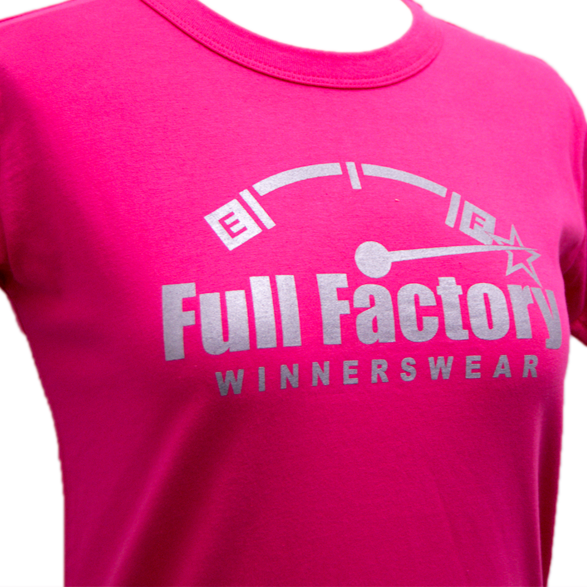 Ladies Full Factory Pink & Silver T-Shirt Image