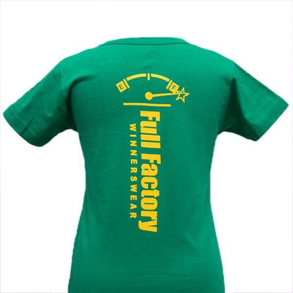 Ladies Full Factory Green & Yellow T-Shirt Image (Back)
