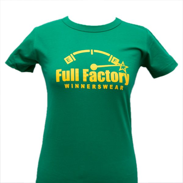Ladies Full Factory Green & Yellow T-Shirt Image
