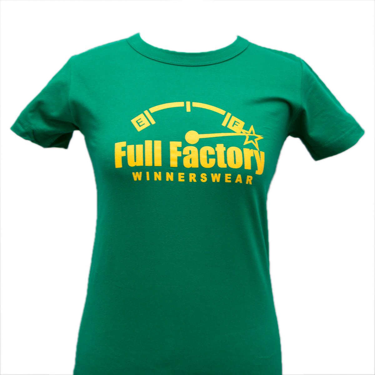 Ladies Full Factory Green & Yellow T-Shirt Image