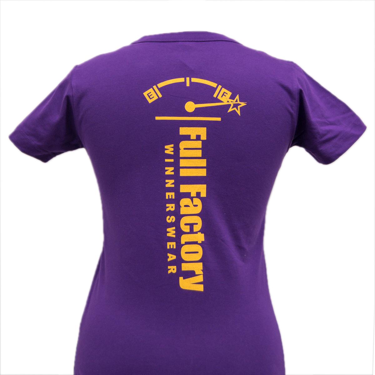 Ladies Full Factory Purple & Yellow T-Shirt Image (Back)