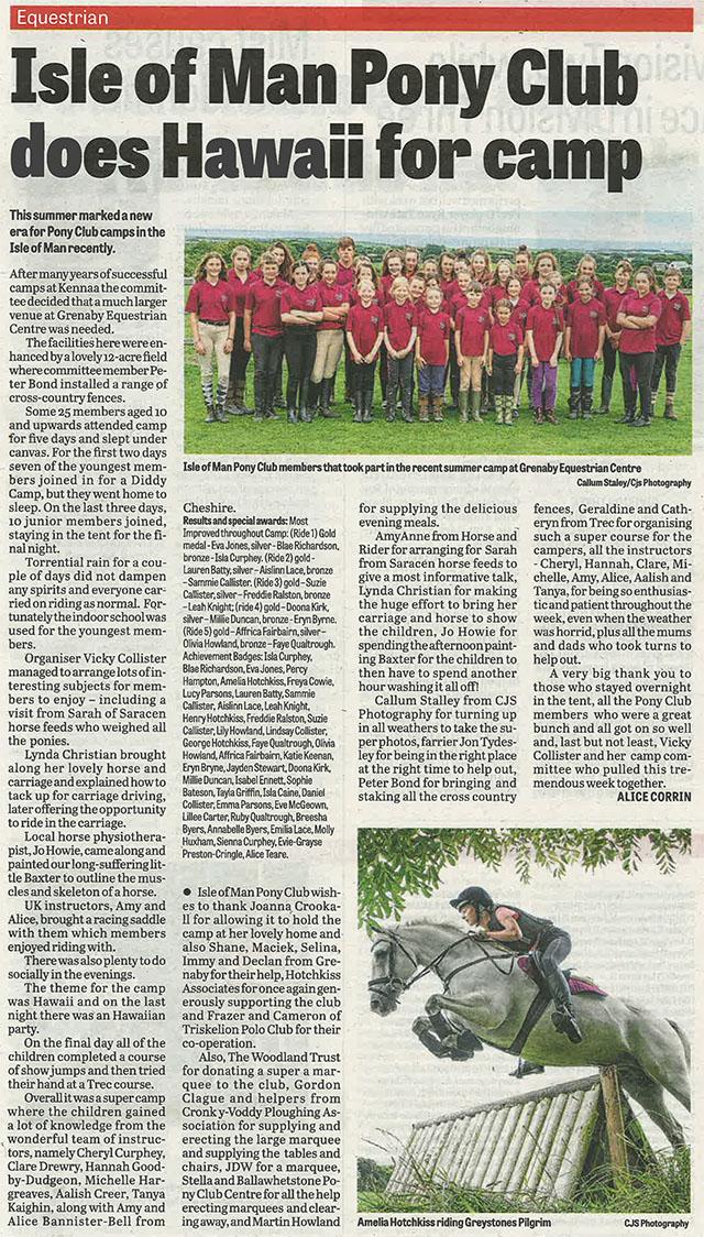 Isle of Man Pony Club Newspaper Article 2018